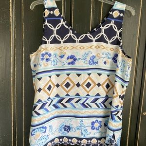 Chico's reversible tank in navy/white and tan/blue